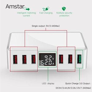 Image 2 - Amstar 40W מהיר תשלום 3.0 USB מטען מתאם 6 יציאות Led תצוגת QC3.0 USB טלפון מטען עבור iPhone סמסונג Huawei Xiaomi