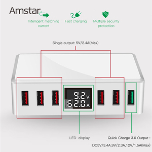 Image 2 - Amstar 40W Quick Charge 3.0 USB Charger Adapter 6 Ports Led Display QC3.0 USB Phone Charger for iPhone Samsung Huawei Xiaomi