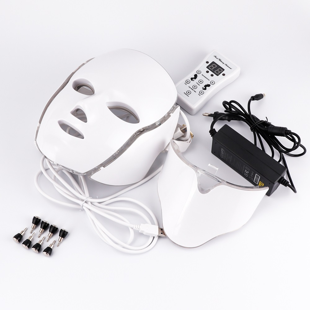 LED Facial Mask Beauty Skin Rejuvenation Photon Light 7 Colors Face Mask With Neck Therapy Wrinkle Acne Tighten Skin Care Tool