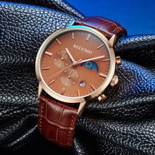 Men's Watch Luxury Brand Chronograph Men's Watch Quartz Luminous Moon Phase Display Watch Men Watch Men's Waterproof Watch цена