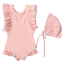 2pcs/set Kids Girls Swimsuit Pink Swimwear One Piece 2019 Children Ruffles Solid Baby Lace Beach Lovely Bathing Suit Bodysuit bangladesh baby country series white blue or pink baby one piece bodysuit
