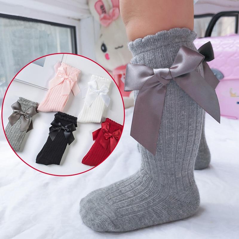 Baby Socks Toddlers Girls Big Bow Knee High Long Cotton Soft Anti Slip Lace Infant Socks Princess Infant Warm Baby Spring Socks