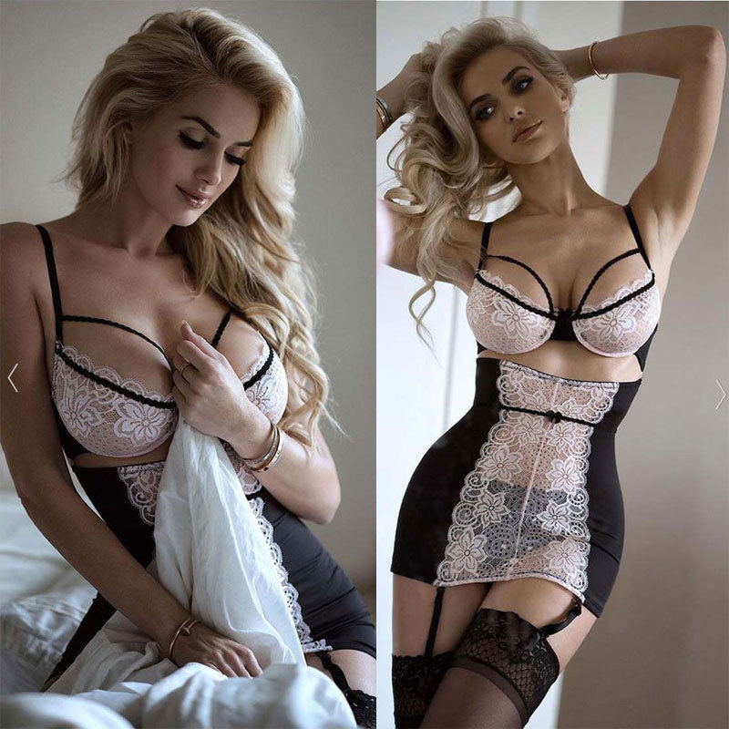 <font><b>XXXL</b></font> Plus Size Porn <font><b>Sexy</b></font> Women Lace <font><b>Lingerie</b></font> Set Bras G-string Hot Erotic <font><b>Babydoll</b></font> Sleepwear Underwear Dresses Sex Costumes image