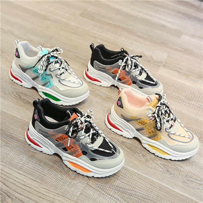 MBR LỰC LƯỢNG 2020 Mới Ins Nóng Sneakers Nữ Hợp Thời Trang Chun Bố Dây Giày Nền Tảng Giày Mới Màu Sắc Phù Hợp Đeo Chéo buộc Giày