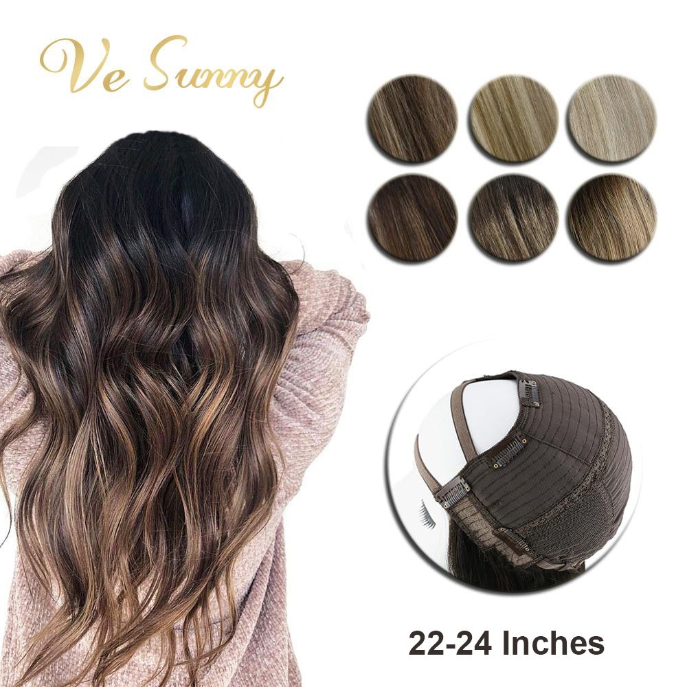 VeSunny U Part Half Wig Real Human Hair With Clips On No Lace Balayage Color Ombre Highlights Long Length Hair 22-24 Inches