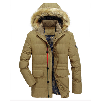 2020 Hot Fashion Long down Men Hooded Winter Coat Thick Warm Mens Jacket Windproof Wool Liner Parka