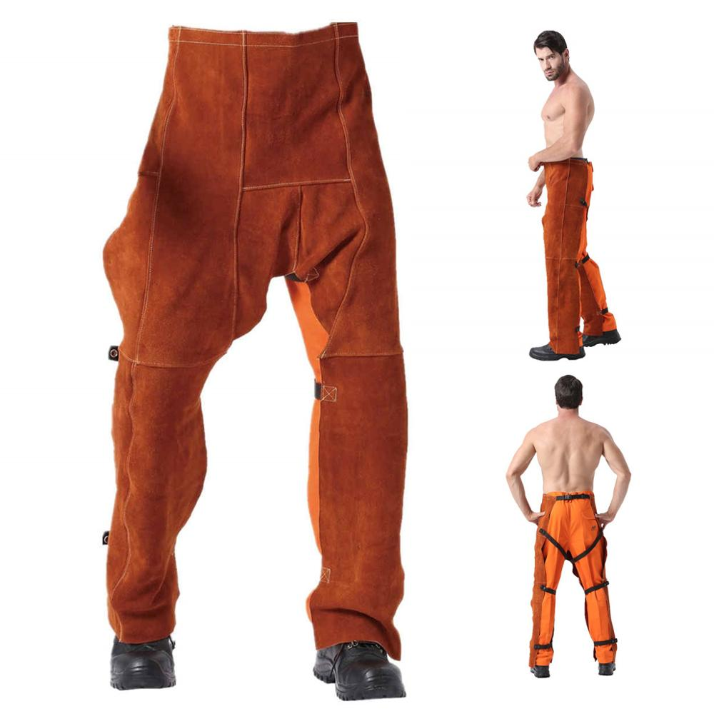 Professional Welding Chaps Leather Welding Flame Abrasion Resistant Trousers Cowhide Leather Worker Britches Working Pants