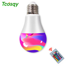 Tcosqy 24-key remote control RGBW bulb multi-color suitable for holiday stage birthday party indoor E27 LED multi-function light