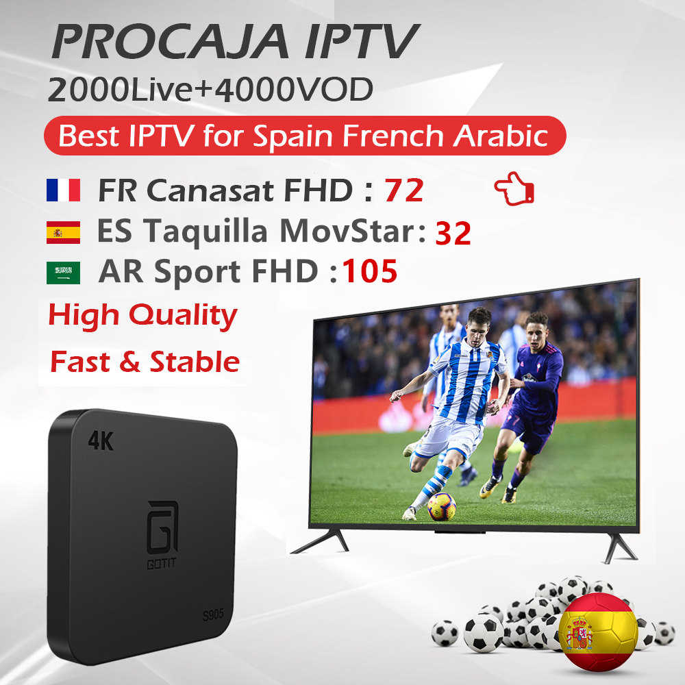 S905 tv box français arabe espagne ville Procaja iptv abonnement 2000 4K en direct + 3500 VOD support smart tv hd chaînes ip tv box
