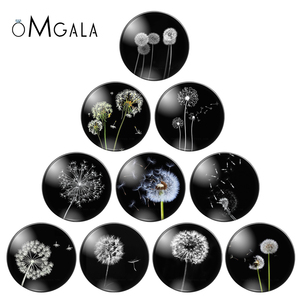 8mm 10mm 12mm 14mm 16mm 18mm 20mm 25mm Dandelion Round Glass Cabochon Flatback Photo Base Tray Blank DIY Making Accessories