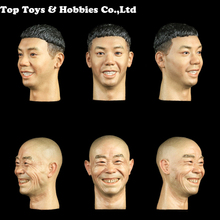 1/6 Scale Asian Male Head 1:6 Facepoolfigure H004 / H005 Men Expression smile Sculpt F 12 Body