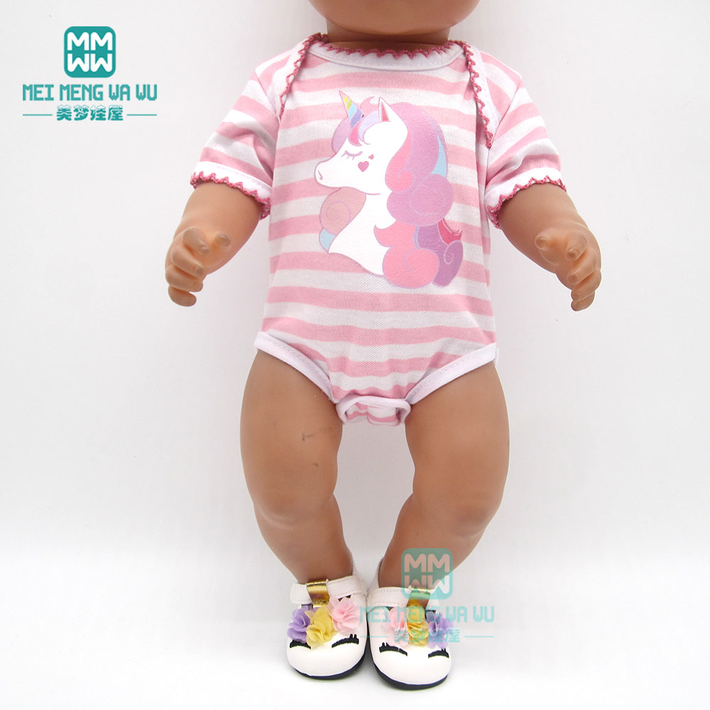 Doll Clothes Born Baby Fit 18 Inch 40-43cm Unicorn Baby Jumpsuit Doll Accessories For Baby Festival Birthday Gift