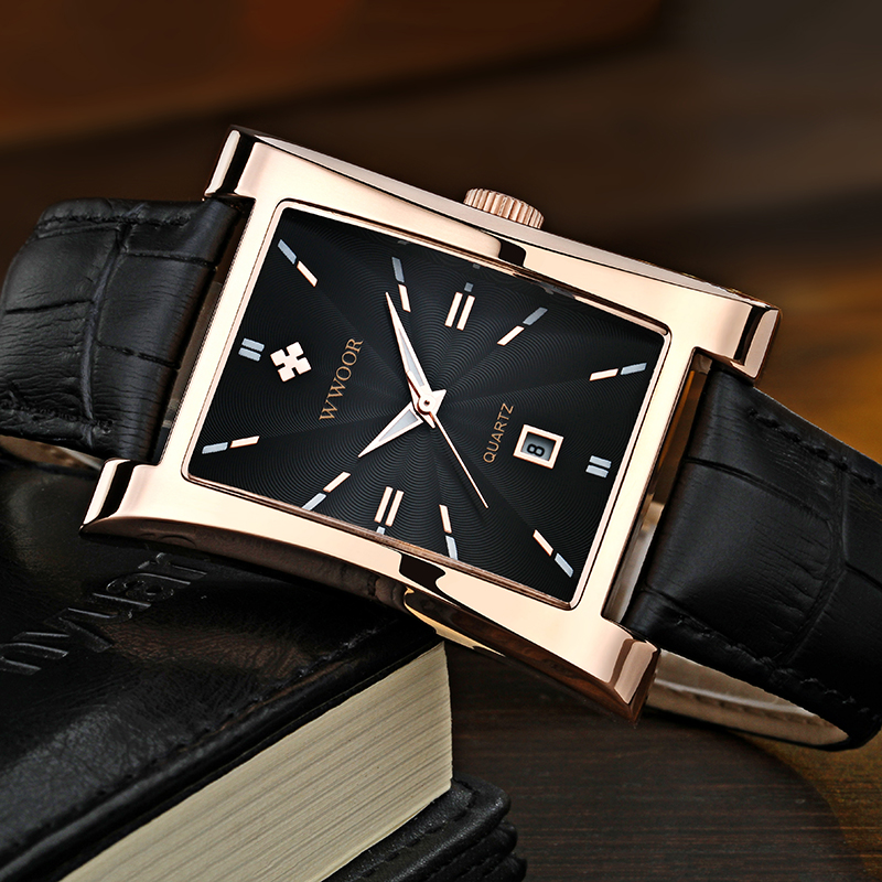 WWOOR Watch Men Top Brand Luxury Gold Black Square Watches For Men Leather Waterproof Date Clock Business Quartz Wrist Watch Box 3