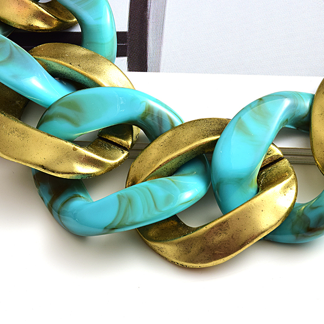 New design Matte-gold High quality Metal acrylic  Statement Fashion bracelet  4