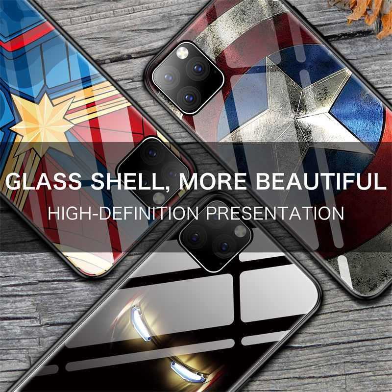 Thuyền Trưởng Marvel Iron Man Đội Trưởng Mỹ Kính Ốp Lưng Điện Thoại Iphone 11 Pro Max Xsmax XR XS X 10 8 7 6 S 6 Plus Batman Bao Coque