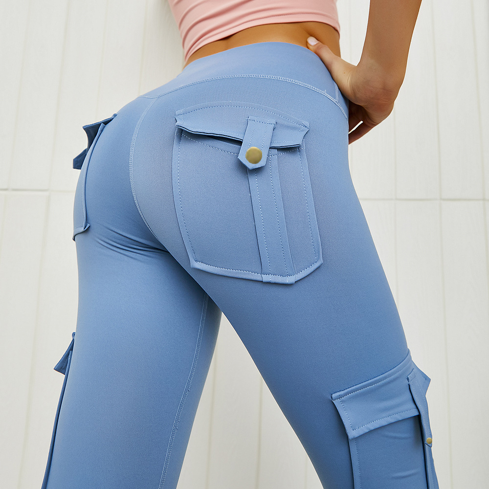 NORMOV Solid Women Pants High Wasit Push Up With Pocket Leggings Trousers Casual Cargo Pants Pantalon Femme Spodnie Damskie