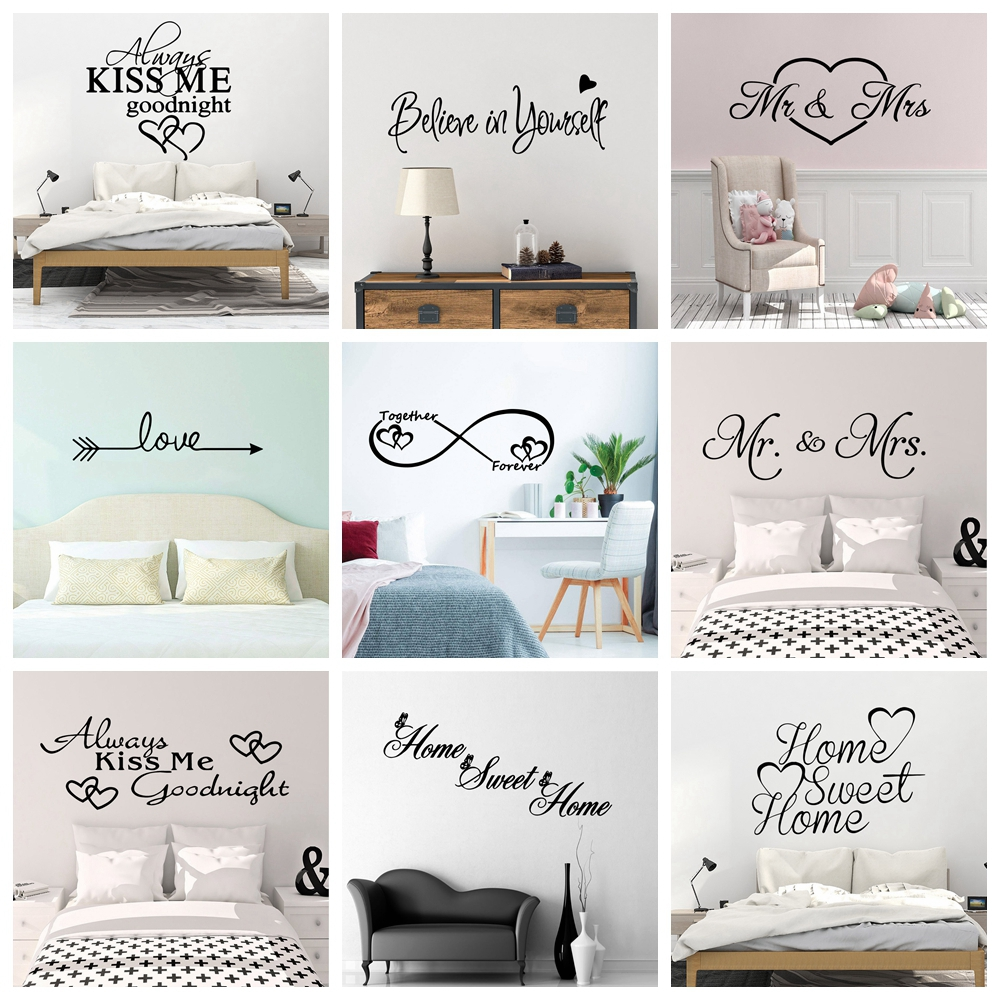 Romantic Love Always Forever Wall Sticker For House Bedroom Decor Living Room Decoration Stickers Wall Decals Decor Mural