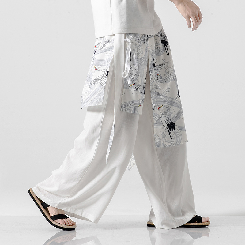 0721 White Black Grey Kimono Pants Men With Belt Japanese Streetwear False Two Piece Cotton Linen Wide Leg Pants Elastic Waist in Wide Leg Pants from Men 39 s Clothing