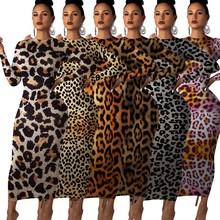 2019 jesień kobiety wzór w cętki z długim rękawem o-neck bodycon midi maxi sukienka kobiet klub nocny długie sukienki na imprezę vestidos GL241 tanie tanio CM YAYA Poliester Elastan Y241 Tassel empire Sexy Club Ołówek Pełna Leopard REGULAR Kostek