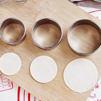 3pcs Stainless Steel Round Dumplings Molds Set Cutter Maker Cookie Pastry Wrapper Dough Cutting Tool Kitchen Gadgets пельменница 14pcs set stainless steel dumplings wrappers cutter maker tools cake moulds mousse ring round stainless steel cookie molds set