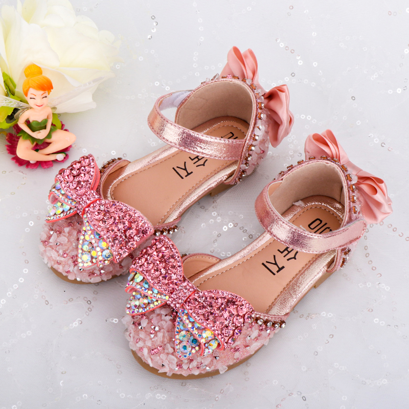 Kids Shoes Princess Beautiful Lovely Stone Bright Bling Butterfly Pink Baby Rhinestone Crystal Sandals Girls Flats Party Shoes