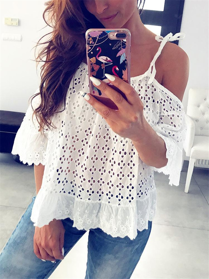 <font><b>Women</b></font> Summer Lace Floral Hollow <font><b>Out</b></font> T-<font><b>shirt</b></font> Outwear Off Shoulder Short Flare Sleeve White T-<font><b>shirt</b></font> <font><b>Cut</b></font> <font><b>Out</b></font> Strap Loose Causal Top image