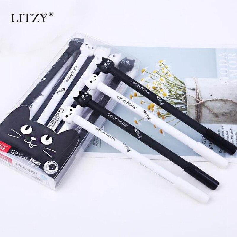 4 Pcs/lot Cute Cat Gel Pen 0.38mm Blue/Black Magic Erasable Pen For School Office Writing Supplies Exam Spare KawaiI Stationery