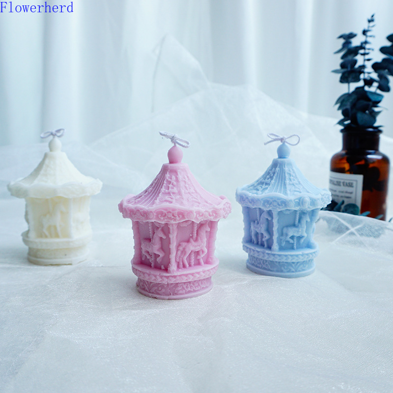 Carousel Candle Mold Handmade Candle Food Grade Silicone Mold Resin Molds Candle Making DIY Soap Mold Cake Mold Candles Diy