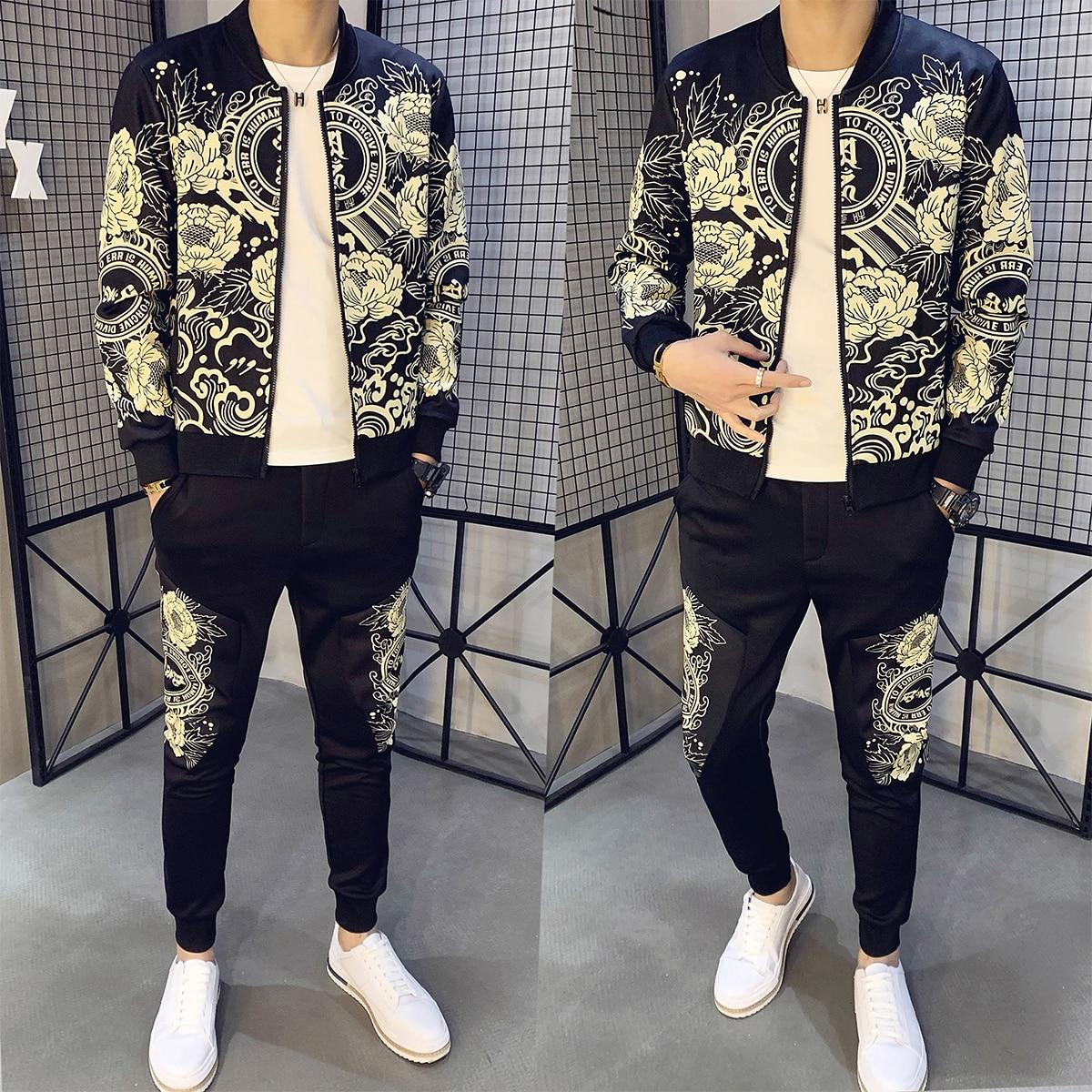 Ropa Hombre Chandal Hombre Tracksuit Men Sweatshirt Homem Man Sport 2 Piece Sets Sport Suit Jacket + Pants Trainingspak Mannen