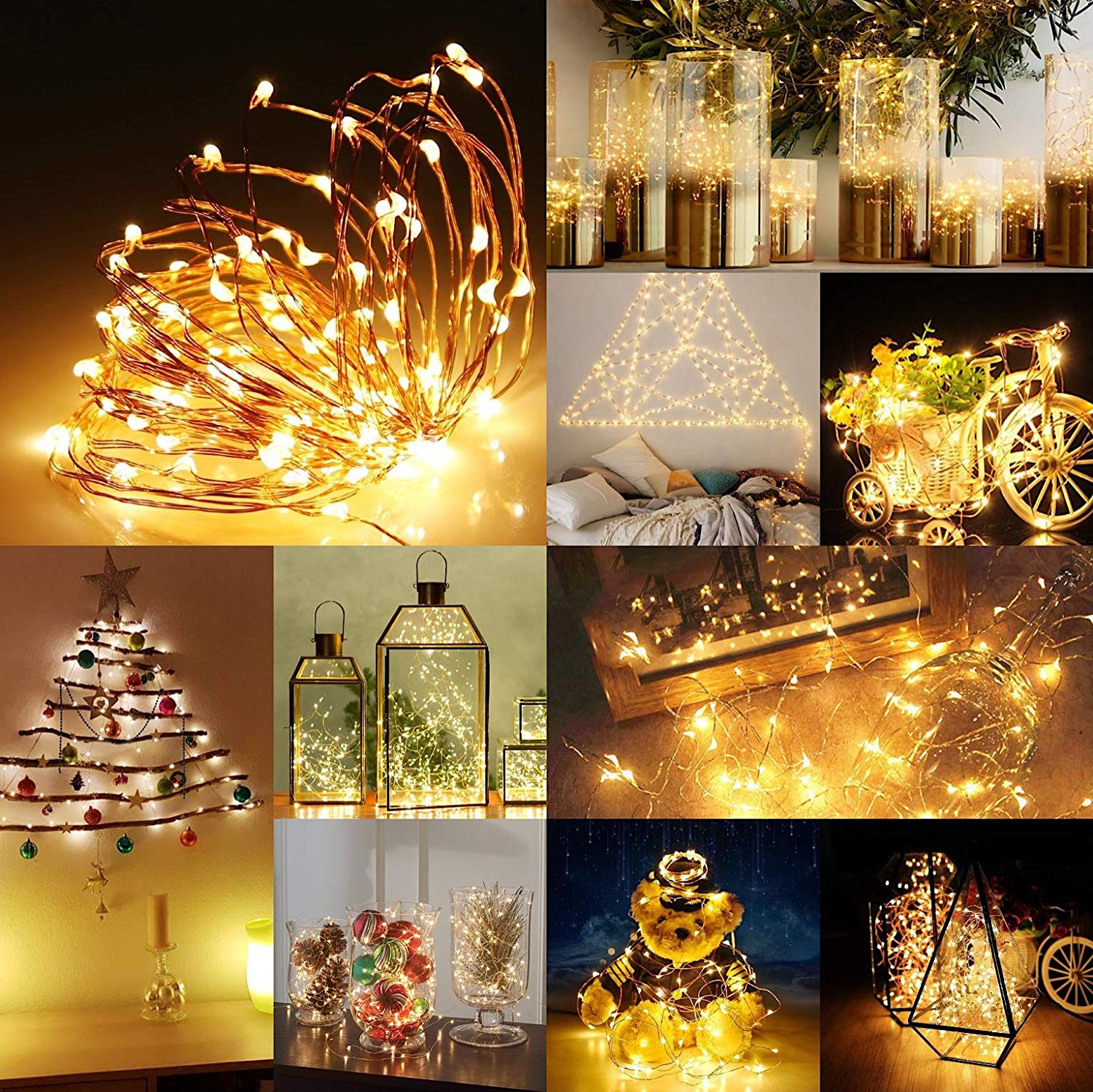 10//20LEDs Copper Wire LED Fairy String Lights Micro Rice Party Chirstmas Decor