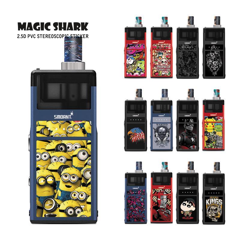 Magic Shark Iron Man Minions Crayon Shinchan Skull Captain American Cover Vape Sticker Case For Smoant Pasito Pod