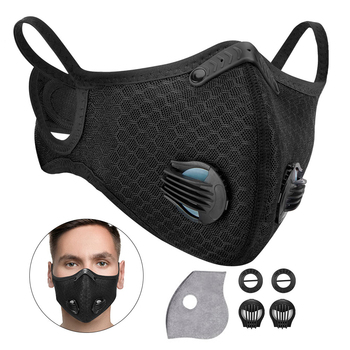 Maski węglowe motocyklowe PM2 5 maska przeciwpyłowa z wymiennymi filtrami ochrona przed zanieczyszczeniami kolarstwo MTB motocykl Sport maska tanie i dobre opinie KEMiMOTO Oddychające Wiatroszczelna Free size Unisex Men Women Anti-pollution PM 2 5 Half mask face cover