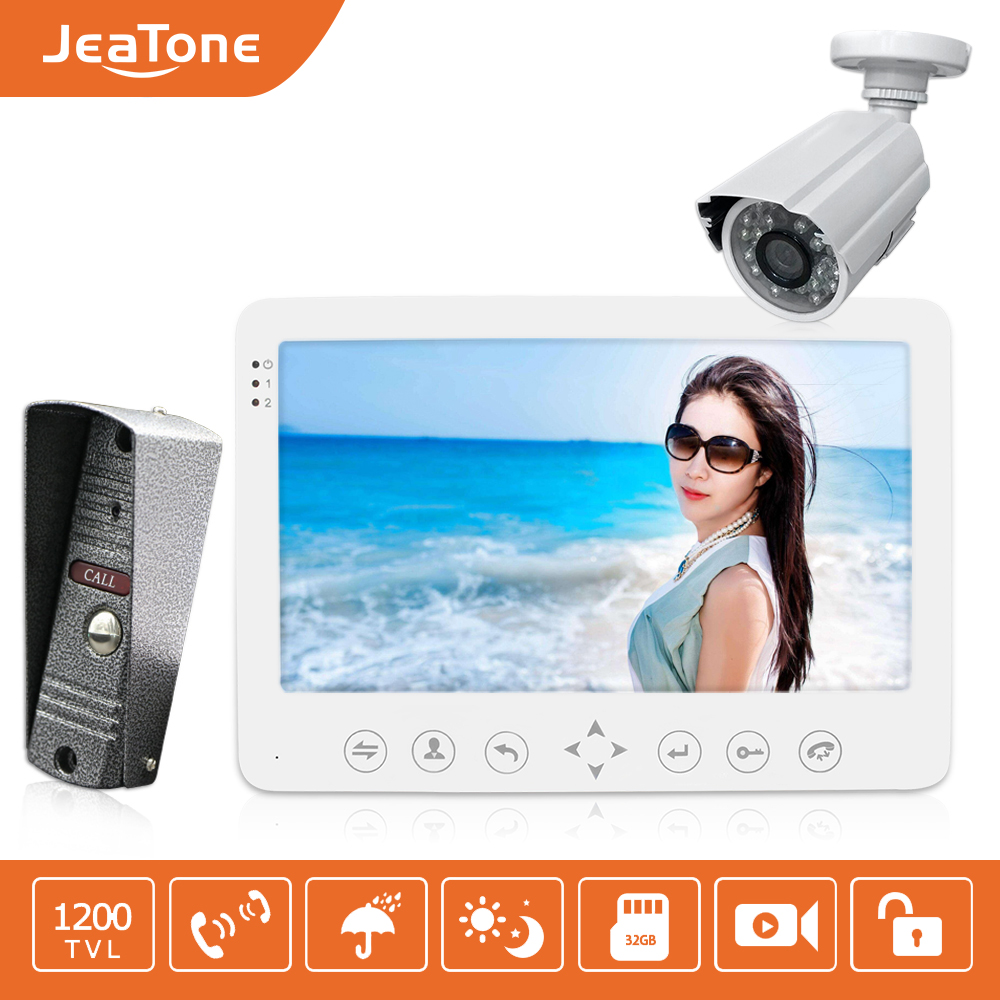 Jeatone 7inch Video Intercom HD Wired Video Doorbell  Monitor  IR Night Vision Motion Sensor For Home Security+1200TVL Camera