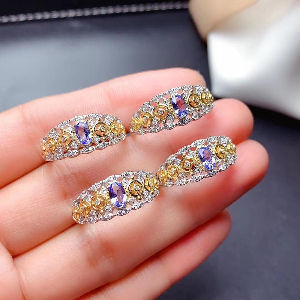 WEAINY Natural Tanzanite Ring S925 Sterling Silver Retro Hollow Lady Fashion Ring High-end Gemstone Jewelry