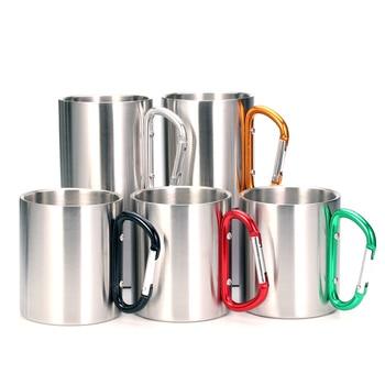 Kubki ze stali nierdzewnej z podwójnymi ściankami, piesze wycieczki, kubki podróżne, metalowe kubki z karabińczykiem