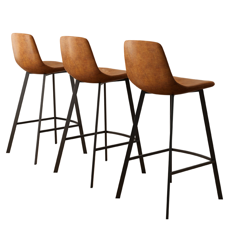 Nordic Bar Chair Modern Simple Iron Front Desk   High Foot   Back Retro Home  Stool