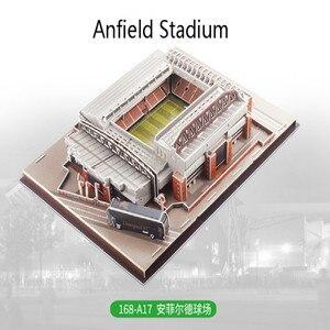 Image 3 - Puzzle 3D europejski klub piłki nożnej Liverpool miejsca DIY Model Puzzle zabawki papier budynek stadion piłka nożna montaż prezenty z motywem gry