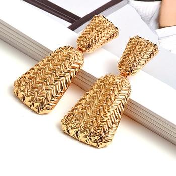 Geometric Gold Metal Drop Earrings  4