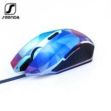 SeenDa przewodowa mysz do gier 3200 DPI 7 okrągłe i oddychające LED Light Diamond wersja komputer USB mysz mysz dla gracza dla LOL CS
