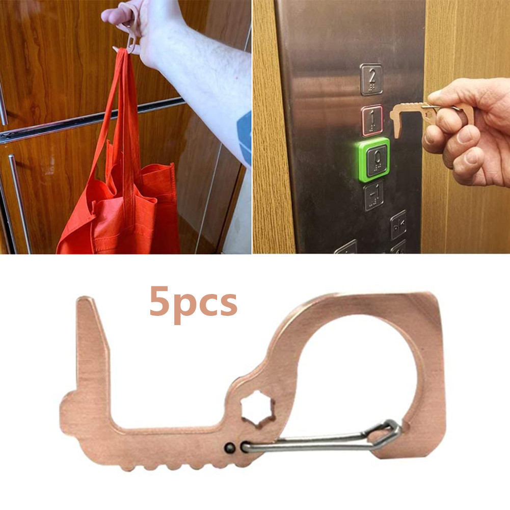 5pcs Door Opener EDC Hand Tool Antimicrobial Brass Portable Press Elevator Tool Door Handle Key For Home Safety Protect Tool