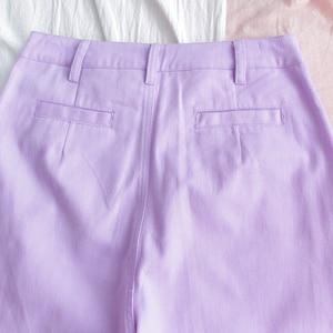 Image 5 - Harajuku Cartoon Embroidery Denim Pants Women Japanese High Waist Cute Casual Purple Pants Korean Kawaii Girls Wide Leg Trousers