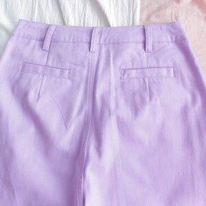 Image 5 - Harajuku Cartoon hafty spodnie dżinsowe damskie japońskie wysokiej talii śliczne dorywczo fioletowe spodnie koreańskie Kawaii dziewczęce spodnie z szerokimi nogawkami