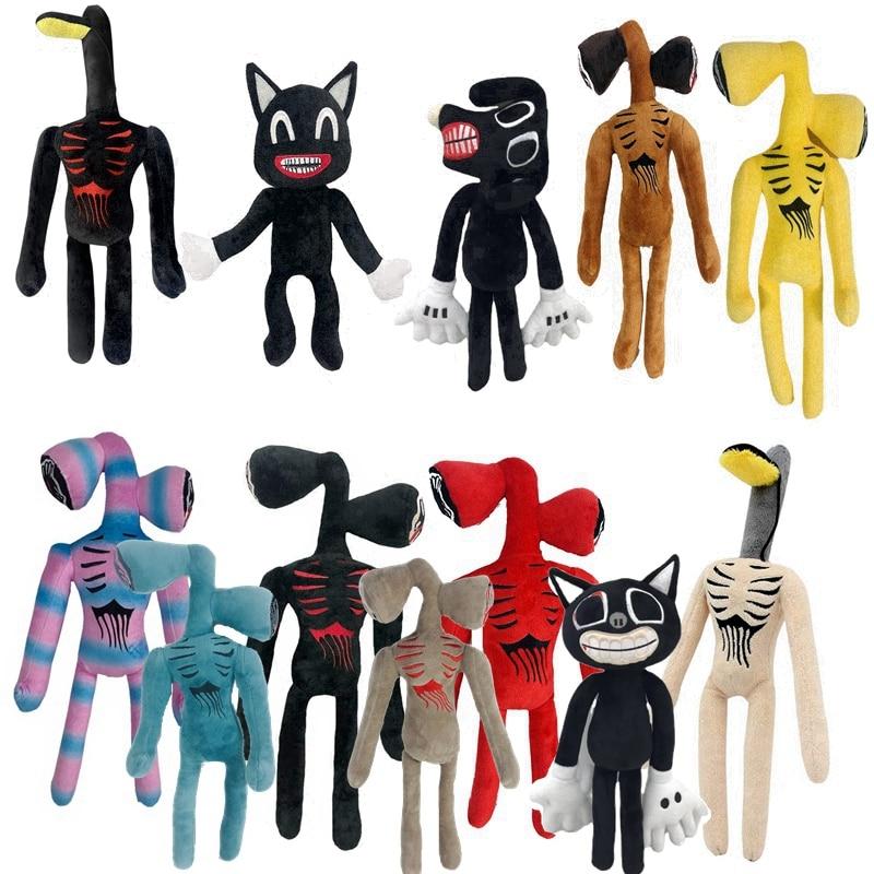 Плюшевая игрушка в виде головы сирены из аниме, мультяшная мягкая игрушка-животные, кукла, ужас, черная кошка, мягкие игрушки для детей, рожд...