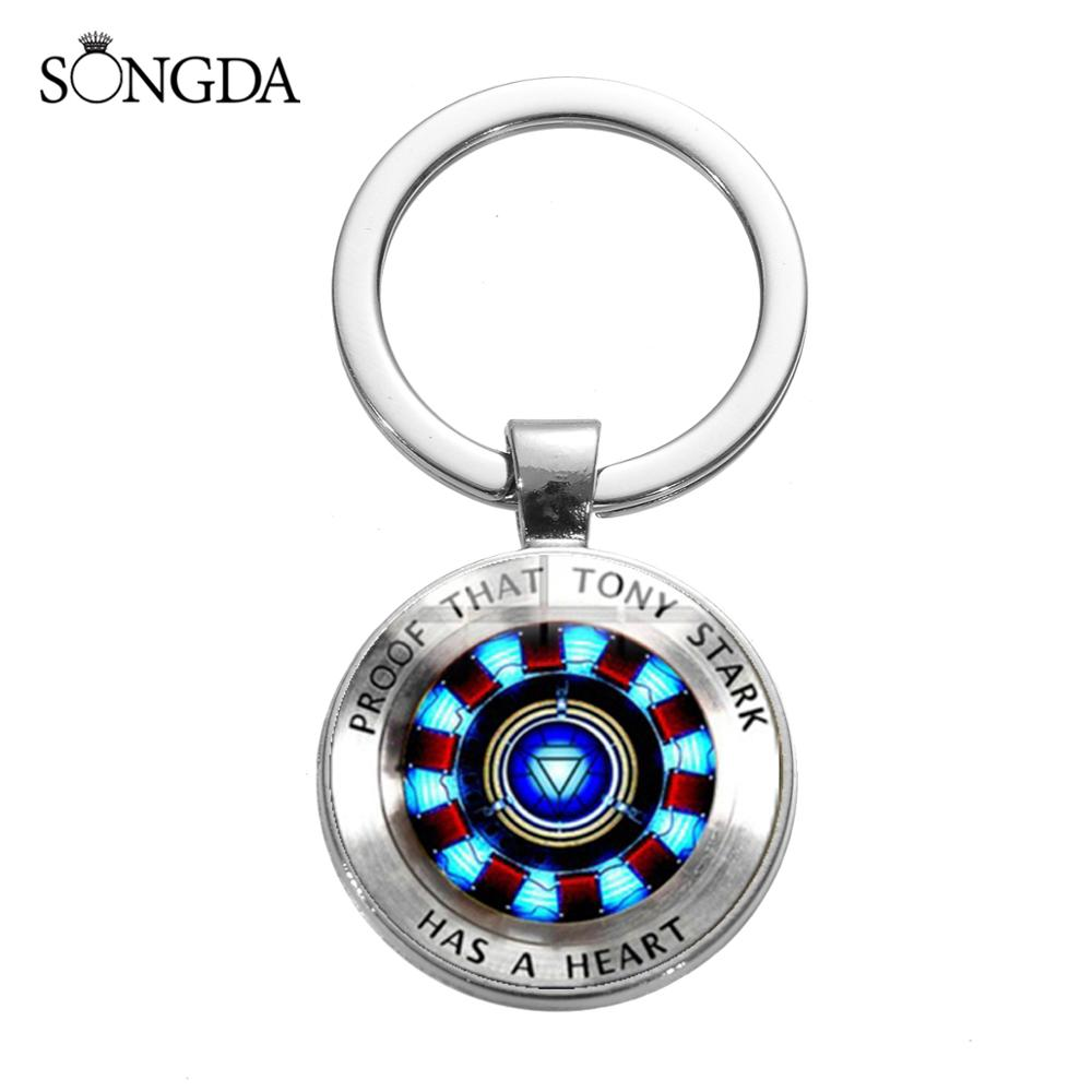 SONGDA New Marvel Iron Man Arc Reactor Keychain Proof That Tony Stark Has A Heart Key Ring Sliver Metal Key Chain For Movie Fans