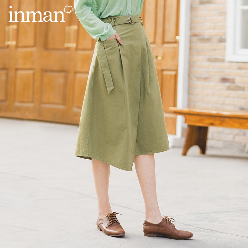 INMAN 2020 Summer New Arrival Pure Cotton Safari Style Casual Asymmetrical Hem Skirt