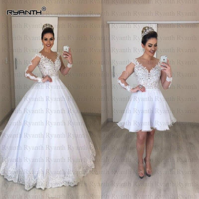 Vestido de noiva 2019 nouveauté 2 en 1 robe de mariée princesse robe de bal Sexy pure Illusion manches longues robes de mariée en dentelle