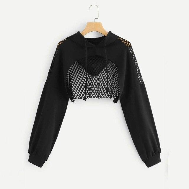 Women Solid Cutout Mesh Insert Cropped Hoodie Sweatshirt Long Sleeve Leopard print Women Autumn Spring Tops hoodies wom