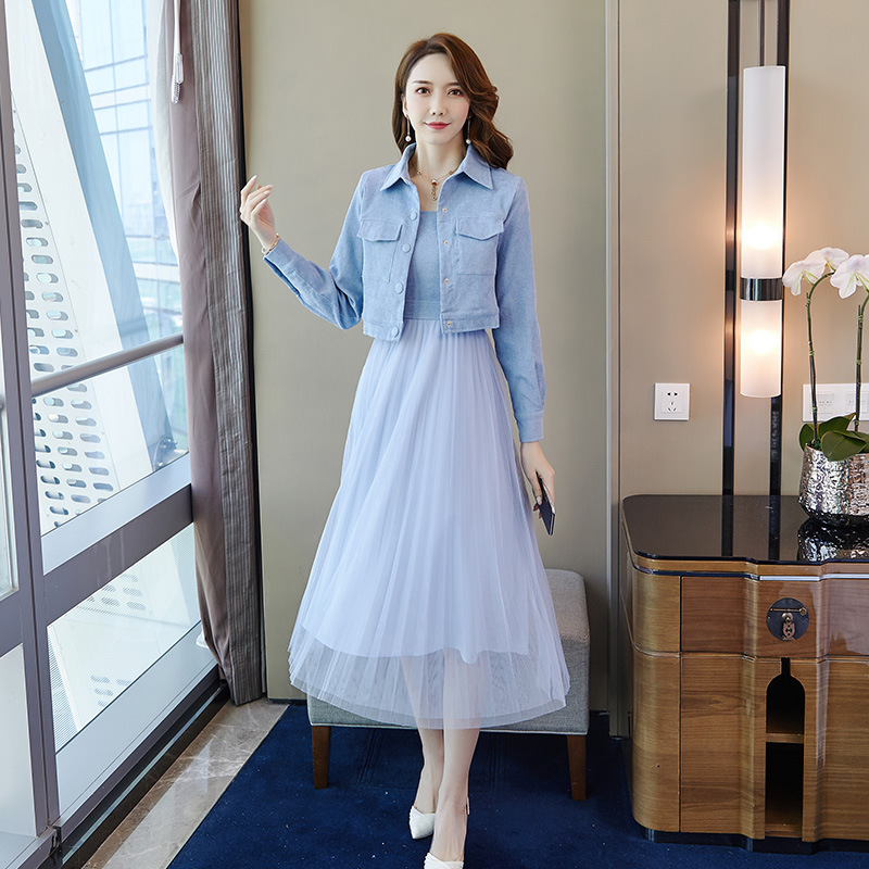 Amazon Hot Selling 2019 Autumn New Style Corduroy Cropped Jacket Camisole Mesh Skirt Two-Piece Set Wholesale 9426