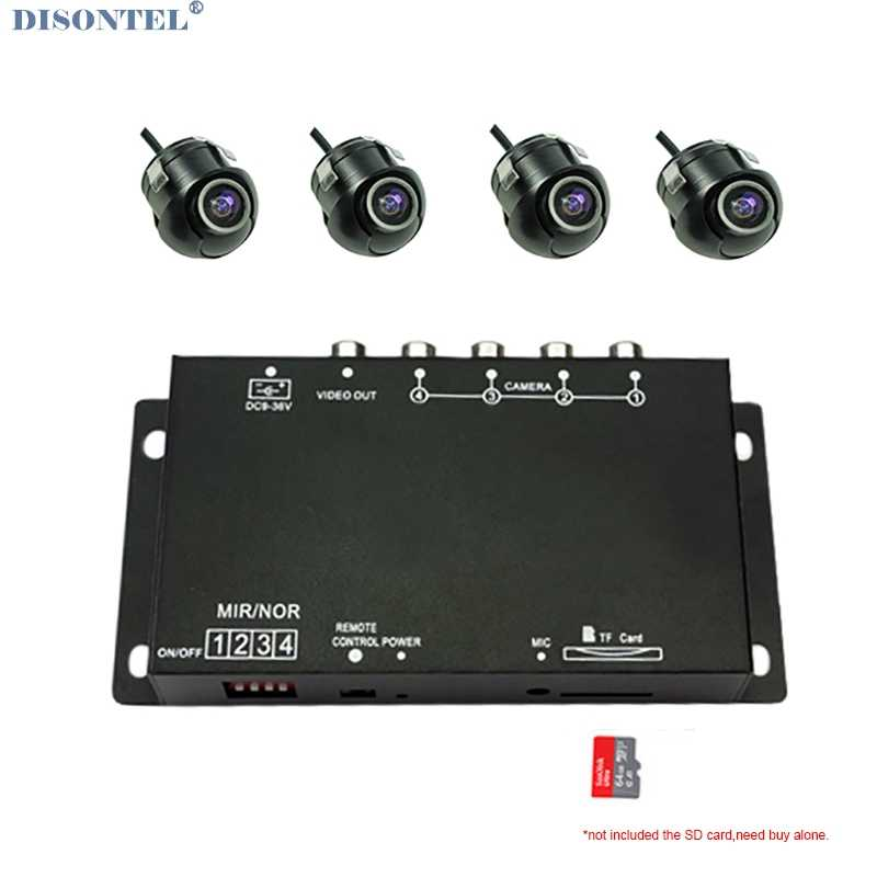 Vier kanaals Auto camera Afstandsbediening DVR Recorder voor Voor Achter side view camera Split-Screen parking assistance