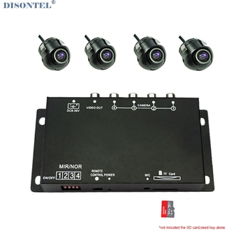 Four channel Car camera Remote Controller DVR Recorder for Front Rear side view camera Split-Screen parking assistance